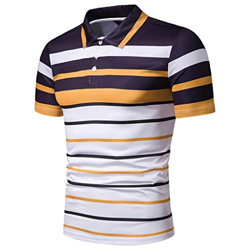 61bac04fa6 Celucke Polohemd Poloshirt Gestreift Herren Poloshirt Männer Basic Hemd Polo  Shirt Kurzarm Slim Fit, Kurzarmhemd Sweatshirt T-Shirt Herrenhemden Marken  ...