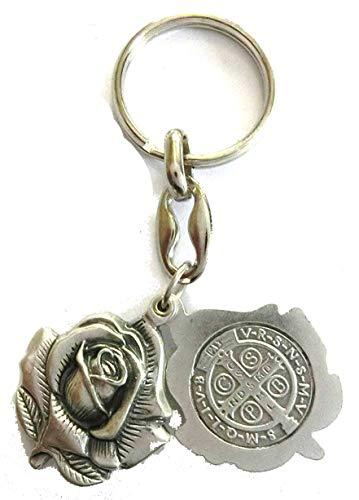 50.011.30San Benito llavero con forma de rosa inserto San Benito 8,5cm plata Papa esorcismo chiesam Santo