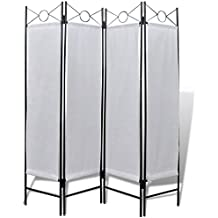 240808 4-Panel Room Divider Privacy Folding Screen White 160 x 180 cm - Untranslated