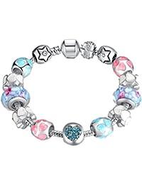 Pulsera del encanto Wowl cadena de la serpiente con perlas de vidrio y la estrella de la forma del corazón encantos de circón cúbico regalo para las chicas