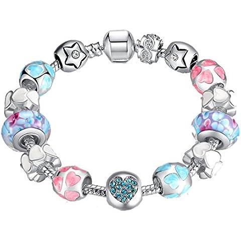 Charm Bracelet Presentski catena del serpente con perle di vetro a forma di cuore e Charms cubico zircone stella del cuore regalo fro - Fascini Del Cuore Di Vetro