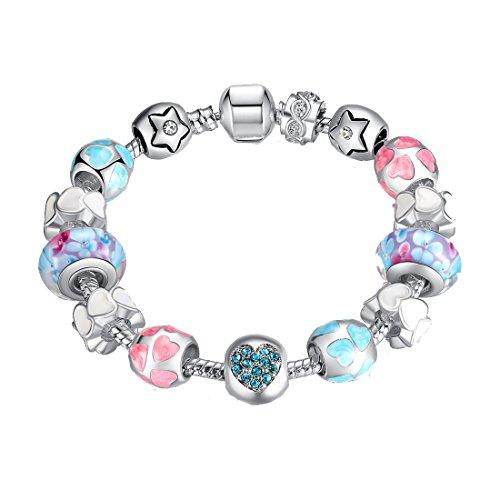Charm Bracelet Presentski Snake Catena con perle di vetro e stelle a forma di cuore fascini cubico zircone cuore regalo per 12 ° per le donne Ragazze 35 ° - Fascini Del Cuore Di Vetro