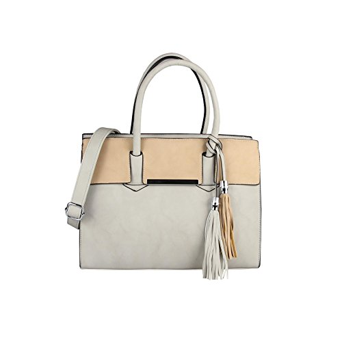 OBC Only-Beautiful-Couture, Borsa a mano donna bianco bianco ca.: 35x26x15 cm (BxHxT) Grau-Camel