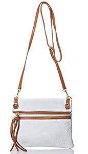italienische Damen Umhängetasche Barcelona aus echtem geprägtem Leder in weiß und cognac, Made in Italy, Handtasche 22x24cm