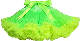 ES81 Girls Skirt Tutu Dancing Dress Shinning Green Trimmed Size 2-3 Years