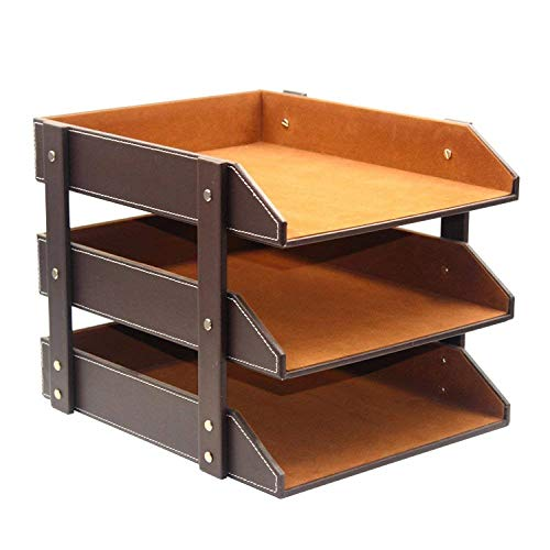 Willesego Bücherregal von Leder Dokument Halter Desktop Storage Organizer Daten Racks Bürobedarf, braun (Farbe : Braun, Größe : -) (Brown-leder-bücherregal)