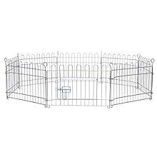 dibea FG00550, Parc/Enclos pour Chien Chiots et Petits Animaux, 38 cm Haut, 8 pcs (par 59 x 38 cm), clôture en métal pour la Maison et Le Jardin