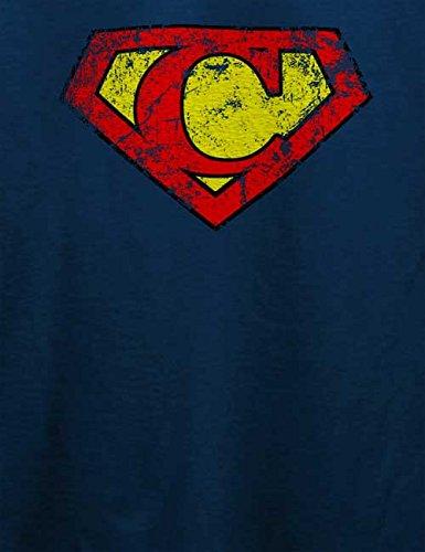 C Buchstabe Logo Vintage T-Shirt Navy Blau