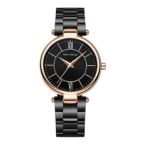 Relojes Pulsera Escala de la Tira Escala del Numeral Romano Relojes Mujer Pulsera de Acero Inoxidable Elegant, Negro
