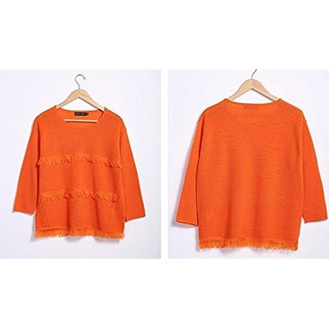 De las mujeres con cuello redondo larga - jersey de manga suéter de la borla