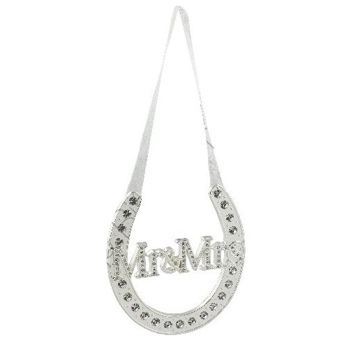 MR MRS GOOD LUCK HORSE SHOE GIFT KEEPSAKE BRIDAL HANGING CRYSTALS SILVER PLATED