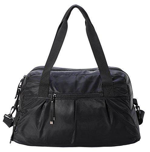 (MIER Gym Sports Seesack mit Schuhfach Travel Overnight Weekend Tote Bag für Männer und Frauen, schwarz)