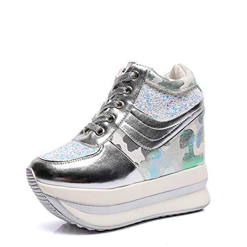 Phy Shoe Herbst Wasserdichte Plattform Freizeitschuhe weibliche Erhöhung dicken unteren Keilabsatz mit Super High Heel Sneakers Schuhe, Silber, ()
