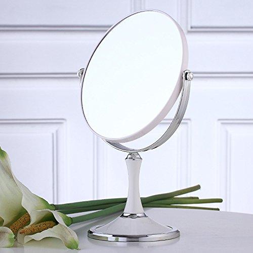 2x Spiegel Lupe (Beauty Makeup Kosmetik 8 Zoll 2-fache Vergrößerung, runde, ovale, Make-up-Spiegel Dual 2-seitig Normal und 2x Lupe Stand Spiegel, weiße, ovale)