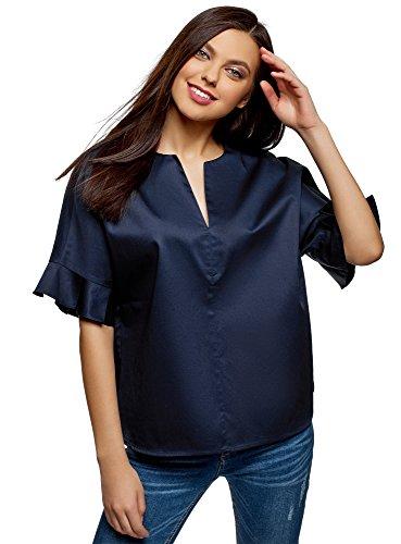 oodji Ultra Damen Baumwoll-Bluse mit V-Ausschnitt, Blau, DE 42 / EU 44 / XL -