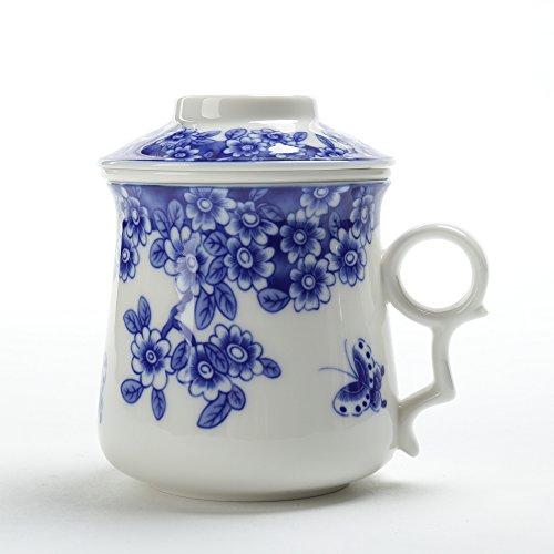Japanischer Tee-Becher (400 ml) mit Sieb und Deckel (Blau & Weiß), Tragbarer Ornament-Infuser, Aufguss-Teetasse, Brauenfilter, großer Steeper-Men-Mom-Dekor, sicheres Bleifrei, Küchenhersteller -