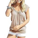 UPhitnis Oberteile Damen Sommer T-Shirt Kurzarmshirt V-Ausschnitt Lässige Stretch Falten Bluse Tops Oberteil Baumwollshirt Blickdicht