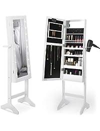 Beautify Espejo Joyas - Lacado Blanco Gabinete Joyeria Espejo Armario De Pie con Espejo y Luces