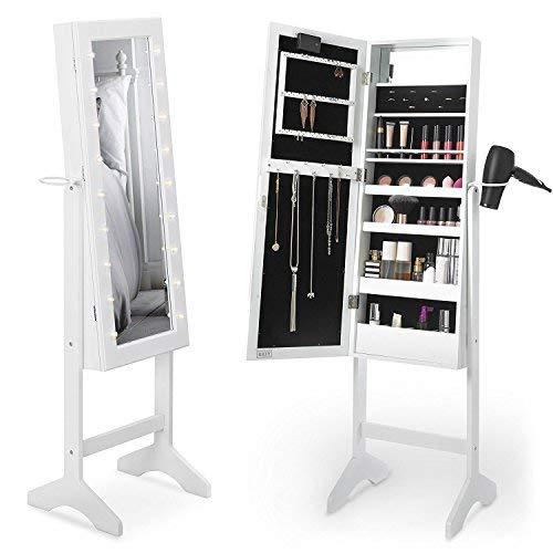 Beautify Armoire à Bijoux et Maquillage sur pieds avec Miroir et éclairage LED – 36.5 x 51 x 145 cm