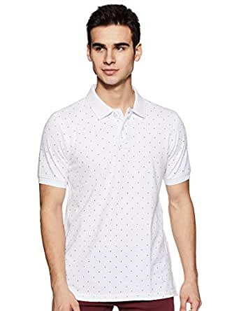 Amazon Brand - House & Shields Men's Printed Regular fit Polo (SS19-HSK-34_Pure White_S)