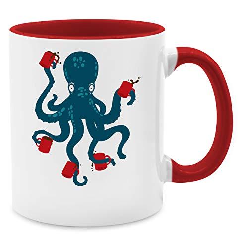 ffee Octopus - Unisize - Rot - Q9061 - Kaffee-Tasse inkl. Geschenk-Verpackung ()