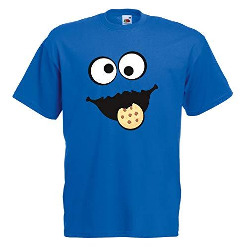Günstige Kostüm Elmo - Shirt-Panda Herren Unisex T-Shirt Keksmonster Krümelmonster Gruppen Kostüm Karneval Fasching Verkleidung Party JGA Royal Blue 2XL