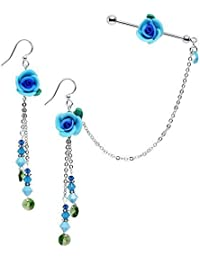 Body Candy Handcrafted Blue Rose Industrial Chain Earring Set Created with Swarovski Crystals