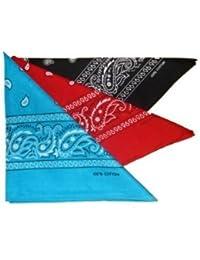Lot de 3 foulard bandana américain tour de cou paisley USA - Noir + Rouge + Turquoise - Country Cowboy Moto Hip Hop Tendance Outdoor