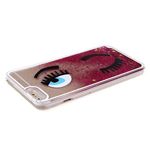 iphone 6 Plus custodia rigida, Copertura dura per la iphone 6 5.5, Hard Case Cover per iphone 6 Plus in 3D, Ukayfe Creative Design scorre fluttuante liquido lusso di Bling di scintillio Sparkle Bella occhio-rosso