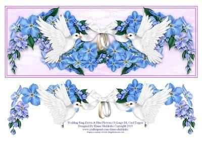 Anello di nozze colombe e fiori blu grande DL carta topper (3) by Elaine Sheldrake