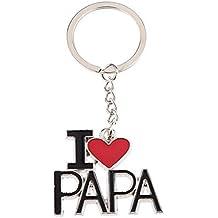 """Wicemoon key chain Llavero Conjunto de llavero """"I LOVE PAPA"""" Regalo para padre (A)"""