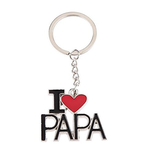 Wakerda 1 Pcs I Love Papa Alloy Keychain Pendant Clasps Charms Keychain Creative decoration Key Buckle Thanksgiving Gift for Father