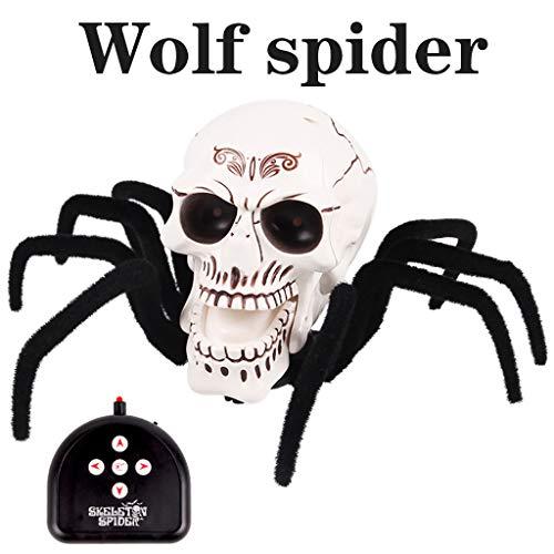 Chshe TM, Halloween Horror Spinne SchäDel Knochen Requisiten, Smart Remote Control Glowing Kriechende Spinne Spielzeug(A) ()