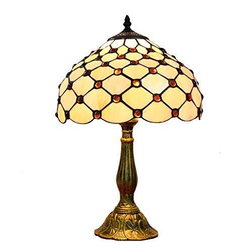 SHPEHP, mediterrane Vintage Tiffany Stil 12 Zoll Glasmalerei Perlen Tischlampe rustikalen Stil Wohnzimmer Esszimmer Schlafzimmer Nacht-Yellow - Bronze Tiffany Tischlampen