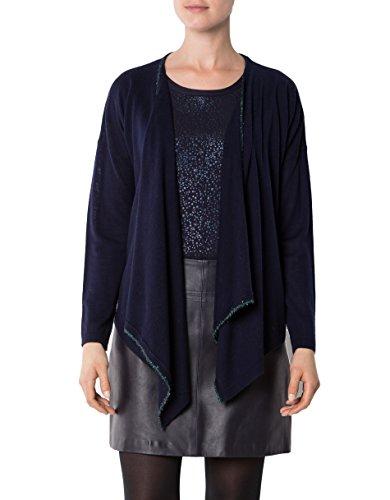 KOOKAI Damen Cardigan Merinowolle Jacke Unifarben, Größe: T3, Farbe: Blau