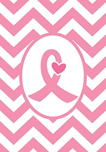 Toland Home Garden Pink Ribbon Ribbon 12,5x45,7 cm Deko-Brustkrebs-Unterstützung Chevron Herz Garten Flagge -