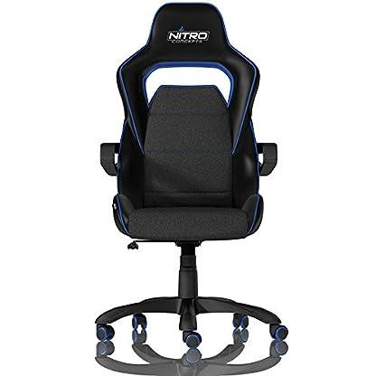 Nitro Concepts E220 EVO Asiento Acolchado Respaldo Acolchado – Silla (Asiento Acolchado, Respaldo Acolchado, Negro, Azul, Negro, Azul, Tela, Imitación Piel, Tela, Imitación Piel)