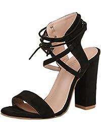 160e474a2b41c Sexy Sandales de Soirée à Talons Mi-Hauts,OveDose Été Femme Grande Taille  Chaussures Bride Cheville Lacet Et Talon Carrés Parties…