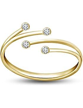 Vorra Fashion 925Sterling Silber Rose Gold & Gelb Vergoldet Weiß Zirkonia Zehenring Bypass verstellbar