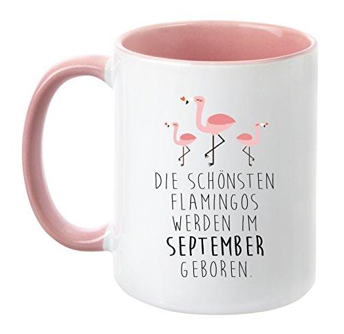 TassenTicker® - ''Die schönsten Flamingos Werden im September geboren'' - Pink - Geburtstag-Tasse - hochwertige Freundin - Schwester - Mama - Tochter - (September) (Süßigkeiten Ananas-gummibärchen)