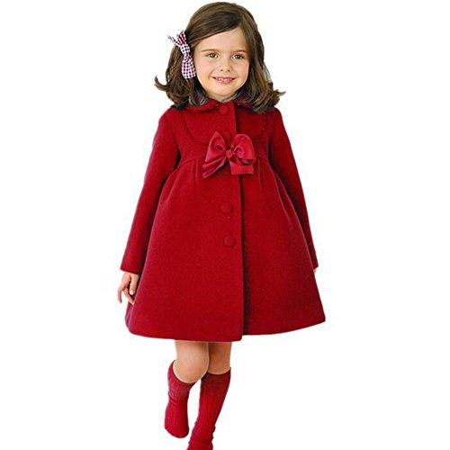 kleine Mädchen Bowknot Windbreaker Herbst Winter Outwear Kleid Mantel rot / 120 (Trenchcoat Kleine Mädchen)