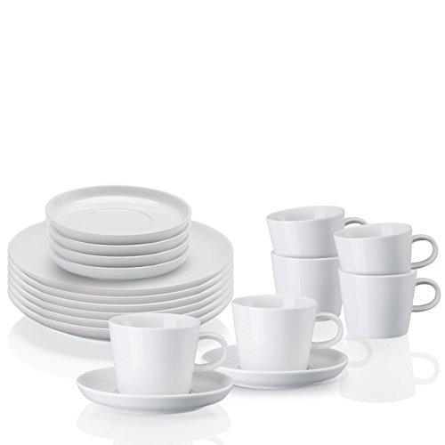 Arzberg Cucina-Basic ROK Weiss Kaffeeset 18-TLG, Porzellan, White, 29.1 x 21.7 x 32.2 cm