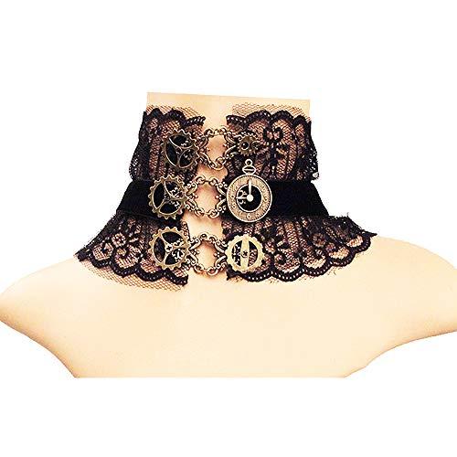 Daimay Gotisch Choker Halskette Halsband Ketten Victorian Steampunk Retro Zahnräder Zahnrad-Blumen für Halloween Ostern Lolita Spitze Geschenk - Schwarz Y390