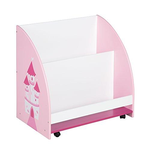 roba Kinder Regal 'Krone', Spielzeug- & Bücher-Regal fürs Kinderzimmer, Spielregal fahrbar & drehbar mit Rollen, rosa / weiß