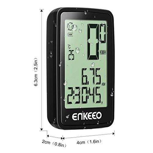 Enkeeo Aufladbare Fahrradcomputer – 1205 Fahrradtacho wasserdicht Radcomputer mit Kabel, 12 Stunden LCD Hintergrundbeleuchtung, Trittfrequenz Sensor, Kilometerzähler - 5