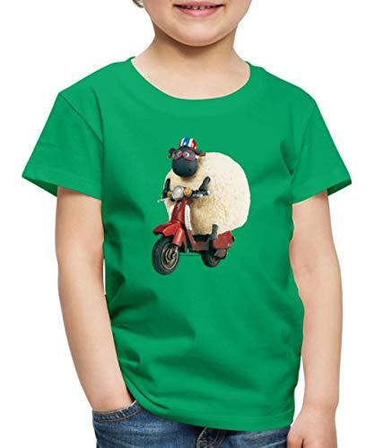 Spreadshirt Shaun Das Schaf Shirley Auf Roller Kinder Premium T-Shirt, 110/116 (4 Jahre), Kelly Green -
