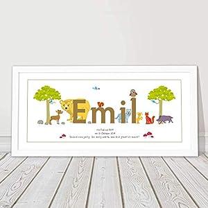 Bild mit Name, Taufgeschenk personalisiert, Geschenk Geburt Junge Mädchen, Babygeschenk, Namensbild, Kinderzimmerbild,1.Geburtstag, Patenkind