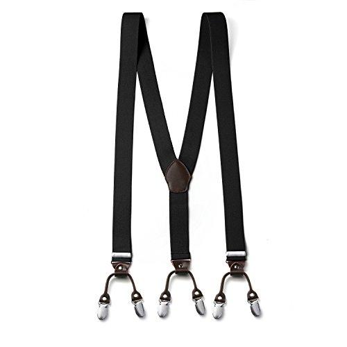 FydRise Herren Y-Form 6 Clips 3.5cm Breit Hosenträger mit Lederriemen Elastisch Längenverstellbar Schwarz
