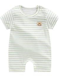Tookss - Mono de algodón de manga corta para bebé y bebé gris Rayas verde claro 6-9M 73cm