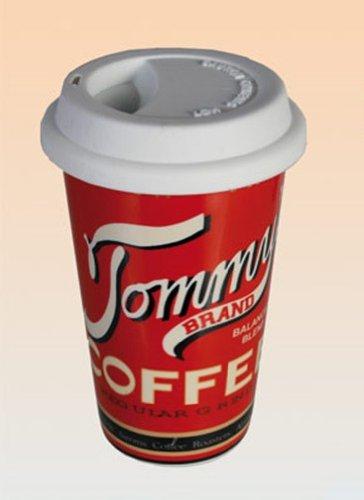 Kaffeebecher To Go mit Deckel, Vintage American Diner Motiv, Retro Kaffeetasse spülmaschinenfest,...